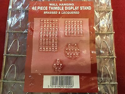"""JES 48 Piece Wall Hanging Thimble Display Brassed Rectangle 6.75 x 12.75"""" (097)"""