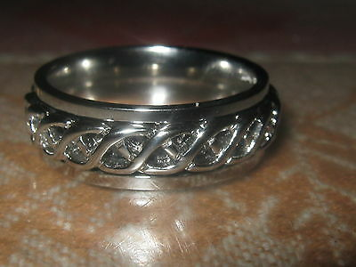 Usa New Stainless Steel Celtic Irish Infinity Spin Spinner Ring Size  8-12