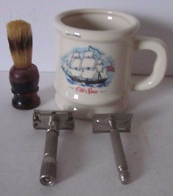 Old Spice Shaving Mug & Sterilized Shaving Brush & Two Gillette Razor U.S.A.