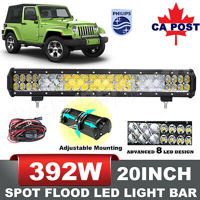 20inch 392W LED Light Bar Flood Spot Combo Work Driving Lamp Philips Lumileds