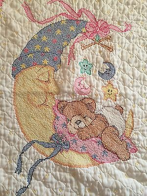 COMPLETED Bucilla Kit 64495 Mr. Moon & Me Teddy Bear Stamped Cross Stitch Baby