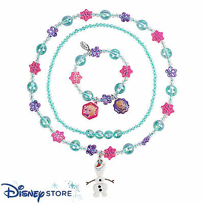 NEW Disney Store Jewelry Frozen 3 pc Set 2 Necklaces and Bracelet Elsa Anna