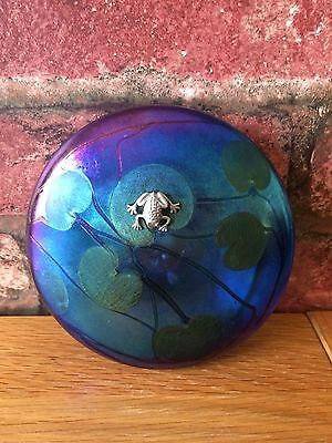 Superb John Ditchfield Iridescent Glass Lilypad Silver Frog Ornament Paperweight