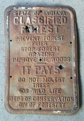 """State of Indiana Classified Forest Steel Forestry Sign 18"""" by 12"""" Old"""