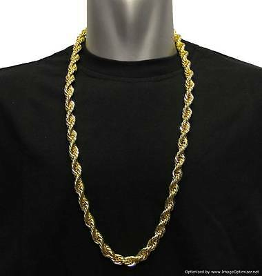 """Gold Plated Rope Chain Iced Out Gangster Necklace Jewellery Hip Hop 8mm x 30"""""""