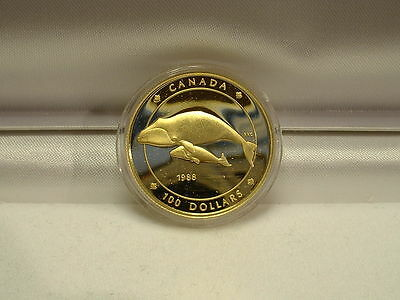 1988 Canada $100 Gold Commemorative Bowhead Whale Proof Coin!!