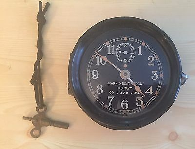 "WW II US Navy Seth Thomas Mark 1 Deck Clock 6"" in Bakelite Case 1942 Mk 1"