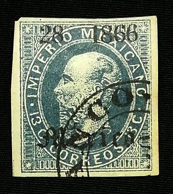Mexico Stamp # 27, 13 C. (1866 - Sc. #27) - Blue, Cobalt,  28 1866, MEXICO, USED