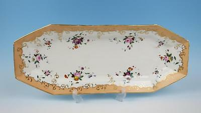 "Antique Paris Porcelain 23"" Fish Serving Tray Platter Vieux Old Roses French"