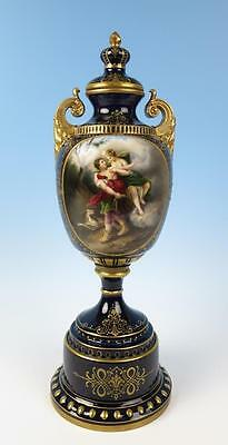 "Royal Vienna Hand Painted 19"" Covered Urn Cobalt Blue Gold Gilt Portrait Signed"