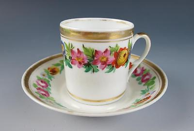 Antique PARIS PORCELAIN COFFEE CAN w/ SAUCER Pink Roses Cup Old English Gold