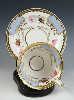 Antique Ridgway Porcelain Cup & Saucer Hand Painted w/ Pink Roses Gold English