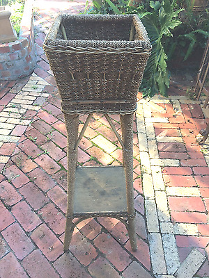 Wicker Cain Plant Stand