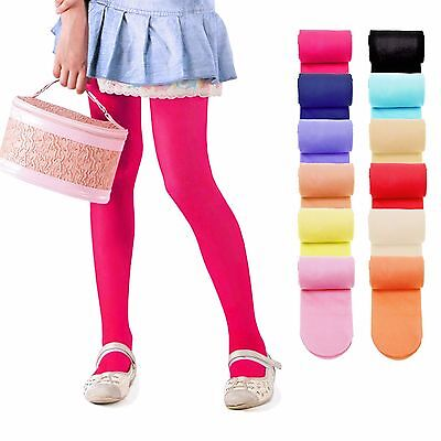KIDS FASHION Girls Plain MICROFIBER Semi-Opaque TIGHTS 40 Denier Colours Sizes