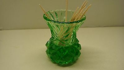 Green Pressed Glass Pineapple Shape Toothpick Holder Vintage
