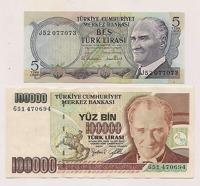 Two 1970 Turkey 100,000 and 5 Lirasi  Banknotes--Unc Condition !