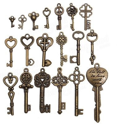 19Pcs Antique Vintage Old Look Skeleton Key Set Lot Pendant Heart Bow Lock