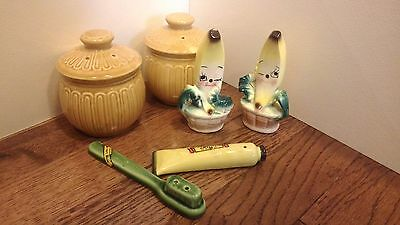 3 pairs Salt & Pepper Shakers Japan Winking Banana Tooth Brush & Yellow Canister