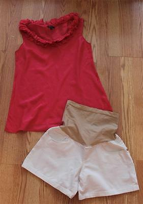 Lot 2pc. Set Oh Baby by Motherhood Maternity White Denim Shorts GAP TOP Size M