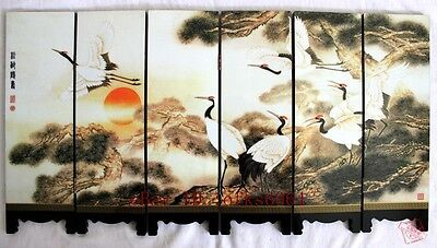 Chinese Boutique collection Lacquer ware painting crane folding screen