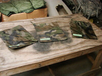 """**Lot of 3 US Military Poncho 10"""" x 12"""" Camo Water Proof Storage Bag/Pouch"""