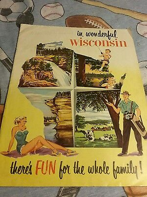 1949 In Wonderful Wisconsin Official  Travel Tourist Guide Magazine
