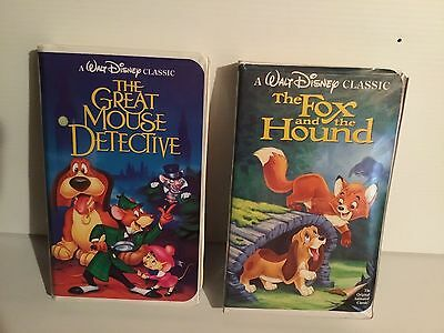 Lot of 2 Disney VHS Movies Black Diamond Classics,  Mouse Detective, Fox & Hound