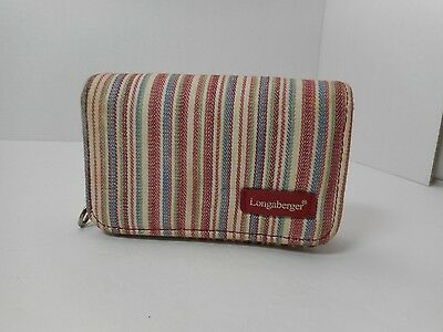 Red Longaberger Wallet with Red, White, Blue, and Green Stripe with Key Ring