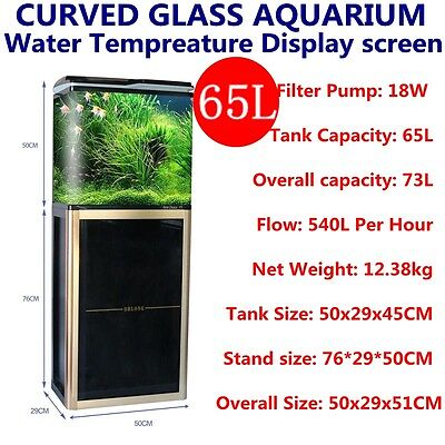 65L fish bowl Aquarium Fish Tank  Curved Glass Cabinet Filter Pump LED Light