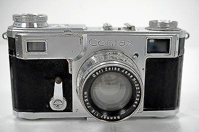Contax II 35mm Rangefinder w/ Zeiss Jena Sonnar 50mm f2 5cm & Leather Case