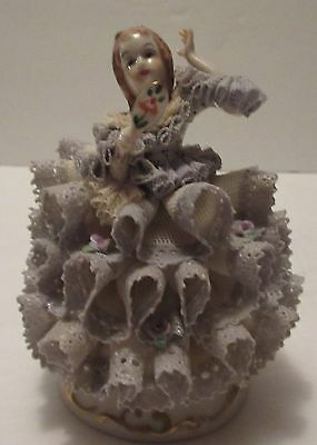 MZ Irish Dresden Lace Figurine Young Girl Holding Mirror Lilac Time Collection