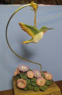 Highly Detailed Resin Hummingbird Figurine with Stand and Flowers~Rubythroated