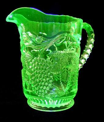 Art Deco Crown Crystal Green Depression Uranium Glass Grapes Jug 400 Series