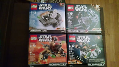 Lot of four Star Wars Series 3 Microfighters sealed in the boxes.