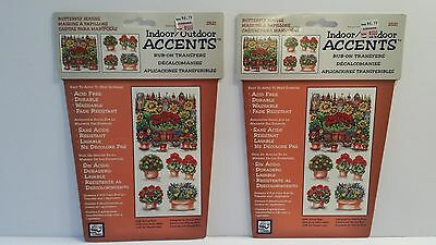 Set of 2 Rub-On Transfers Indoor Outdoor ACCENTS Craft Acid Free Flower Garden