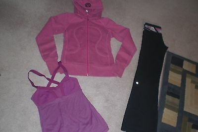 Lot of Lululemon Luon Unicorn Groove Pants, Hoodie and Tank Top sz 2