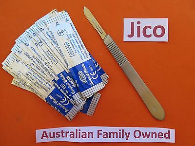 Surgical Sterile Blades  20 x #10, and Scalpel Handle 1 x # 3 sealed art hobby