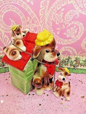 Vtg Napco Puppy Dogs W Yellow Bonnets Red Bow Ties SET of 3 Mama W Pups BANK