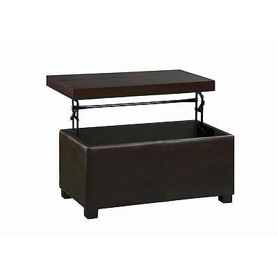 NEW Solid Wood Top Faux Leather Storage Ottoman with Lift Top Bench Coffee Table