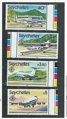 SEYCHELLES Sc# 475-478 MNH SET AIRPORT/AIRPLANES WITH PRINTING TABS