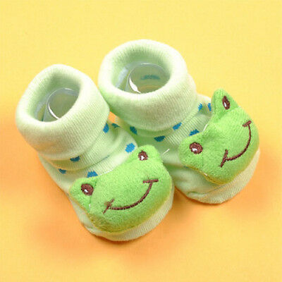 Cartoon Newborn Baby green frog Anti-slip Socks Slipper Shoes Boots 6-18 Months
