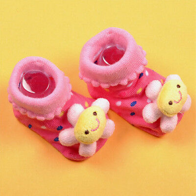 Rose flower Cartoon Newborn Baby Anti-slip Socks Slipper Shoes Boots 6-18 Months