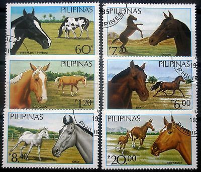 (H122) Philippines 1984 Horses Scott 1747A-1747F pre-cancels hinged NG