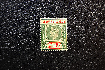 1914 Leeward Islands KGV 5-Shilling Surface-Colored Paper Die I Sc 60/SG 57a XF
