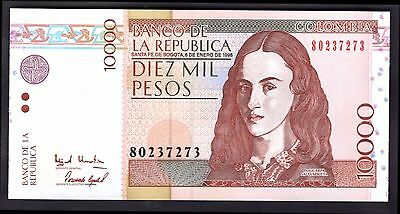 Colombia. 10,000 Pesos, 80237273, 6-1-1998, Almost Uncirculated-Uncirculated.