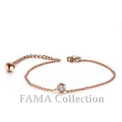 Quality FAMA Rose Gold IP Stainless Steel Anklet with 5mm CZ Pendant