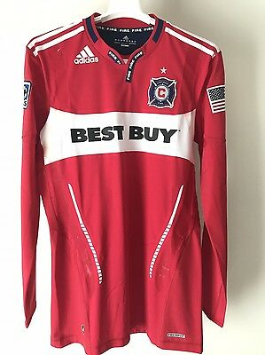 Mls Chicago Fire Adidas Techfit Long Sleeve Soccer Jersey Player Issue Size L