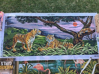 Unworked Tapestry Canvas Les Tigers  125 cm X 60 cm