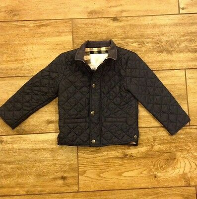 Burberry Boys Luke Quilted Jacket Dark Blue Snap Button Coat Size 3Y 3T 98cm