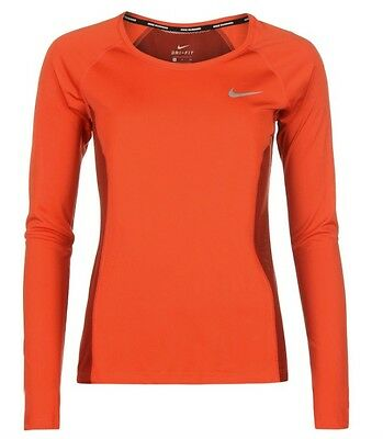 Nike Miler Women's Running Long Sleeve Shirt Orange size L new with label